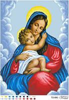 Вишивка бісером ікона Марія з дитям 43х59 см