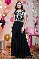 Вечернее черно-белое платье в пол