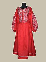 Льняное нарядное платье Мрия с машинной вышивкой разных цветов