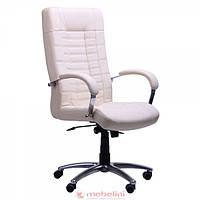 Кресло для руководителя Парис Хром Кожа Люкс комбинированная Ваниль