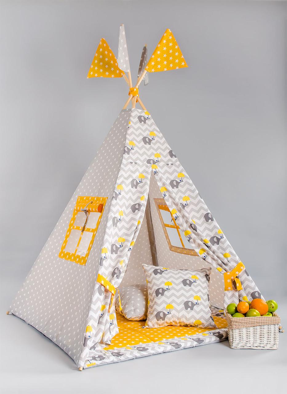 Вигвам - палатка  «Слоник с желтым зонтом»