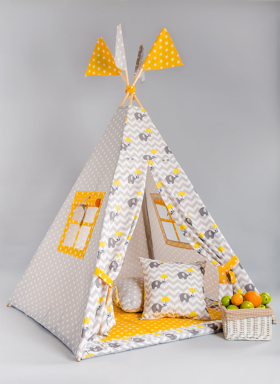 Вигвам  «Слоник с желтым зонтом»
