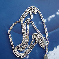 Серебряная цепочка, 600мм, 12,5 грамма, якорное плетение, светлое серебро