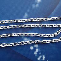 Серебряная цепочка, 550мм, 11,7 грамма, якорное плетение, светлое серебро