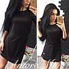 Платье мини черное с поясом SML1231