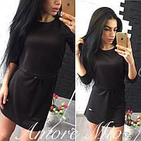 Платье мини черное с поясом SML1231, фото 1