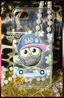 """Силиконовый чехол для Apple iPhone 7 с принтом """"сова в кепке """", фото 1"""