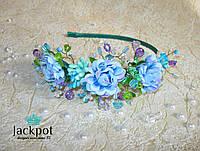 Ніжний обруч для волосся квіти та кристали ручна робота