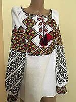 Біла вишита блуза на домотканому полотні 46-48 розмір