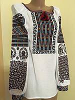 Жіноча вишиванка біла домоткане полотно Борщівська