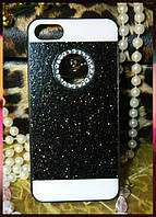 """Чехол для Apple iPhone 7 блестящий """"black"""" с вырезом для логотипа в камнях"""