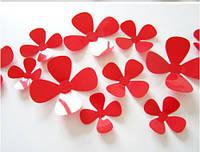 """Наклейка на стену, наклейка цветок, наклейки на шкаф """"набор 12шт цвет красный """"четырехлистный клевер"""""""