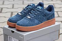 Мужские кроссовки NIKE AIRFORCE, натуральная замша, голубые / кроссовки мужские НАЙК  АИРФОРС, очень удобные
