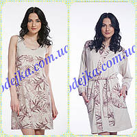 Комплект Домашнее платье, сорочка женская LND 034/001 + халат  LDG 009/001 (ELLEN)