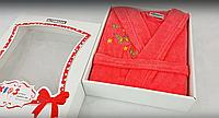 Махровый коралловый халат   для девочек 4-6 лет