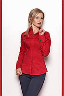 Коттоновая женская рубашка красного цвета в мелкий горошек