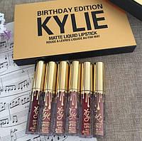 Набор губной помады в стиле Kylie Birthday Edition, Кайли Эдишн (6 штук, цветов)