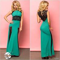 Вечернее облегающее платье бирюзового цвета с гипюром. Модель 12997.