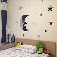 """Наклейка в ванную, акриловые наклейки """"зеркальный месяц и звезды 13шт набор"""" (26см*18см размер Луны)"""