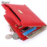 Красный женский брендовый кошелек-визитница Bogesi