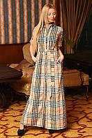 Клетчатое женское платье рубашка в пол приталенного фасона с карманами под пояс турецкий стрейч коттон