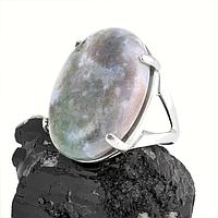Агат моховый, серебро 925, кольцо, 107КА