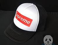 Кепка черная SUPREME | Суприм | летняя | черная | белая | реплика | тракер |  мужская |  женская, фото 1