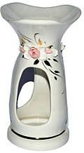 Аромалампа керамічна, біла з трояндочками