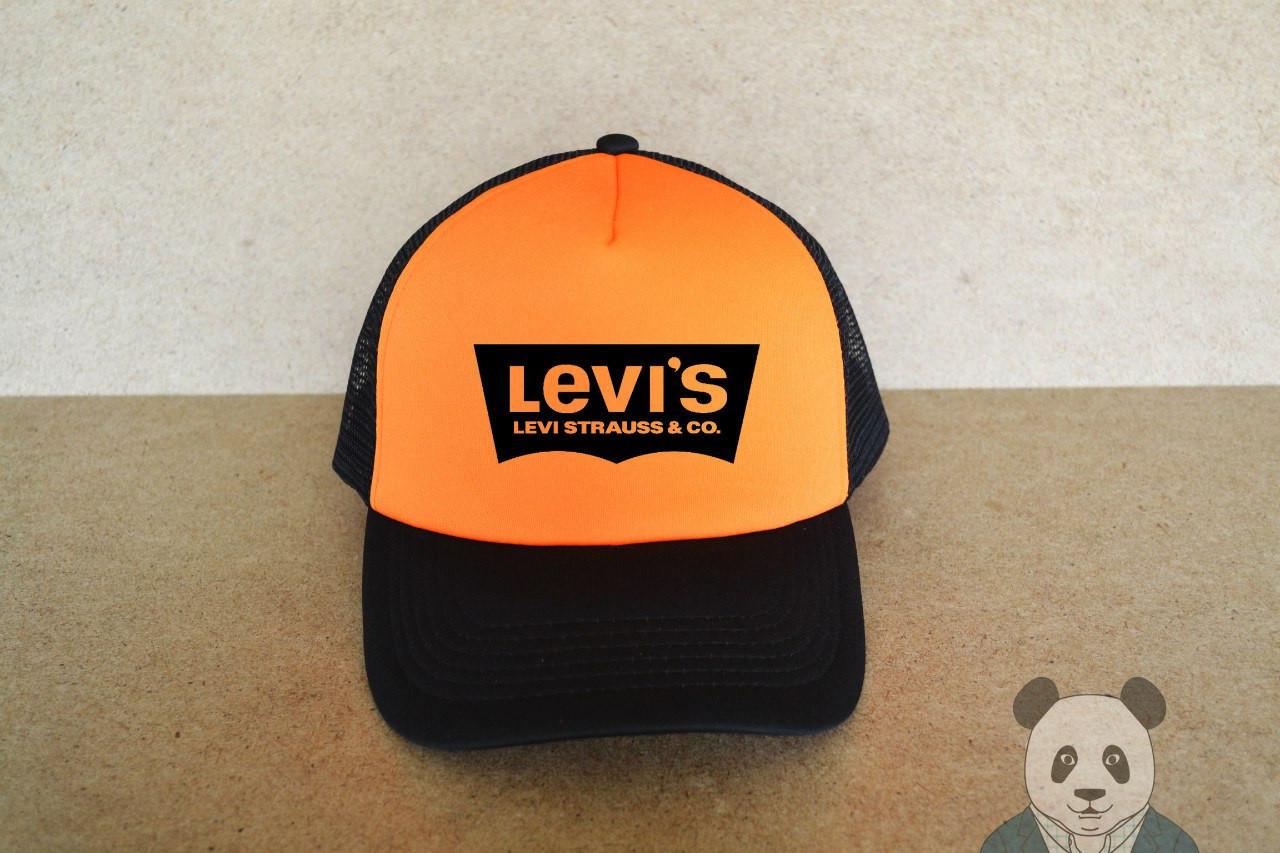 Кепка Levis черная    оранжевая    ЛЕВИС    мужская    женская    летняя    тракер    реплика