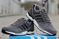 Мужские кроссовки Adidas Zx Flux, замша, серые / кроссовки мужские Адидас зх флакс, демисезонные, стильные