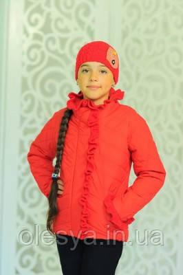 Весенняя  курточка для девочки В комплекте с шапочкой Красный