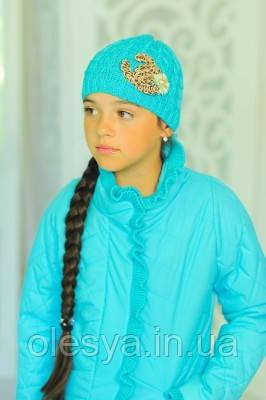 Весенняя  курточка для девочки В комплекте с шапочкой Бирюза