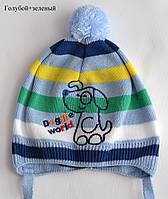 Тонкая одинарная шапочка из х/б пряжи, размер 44-46 см