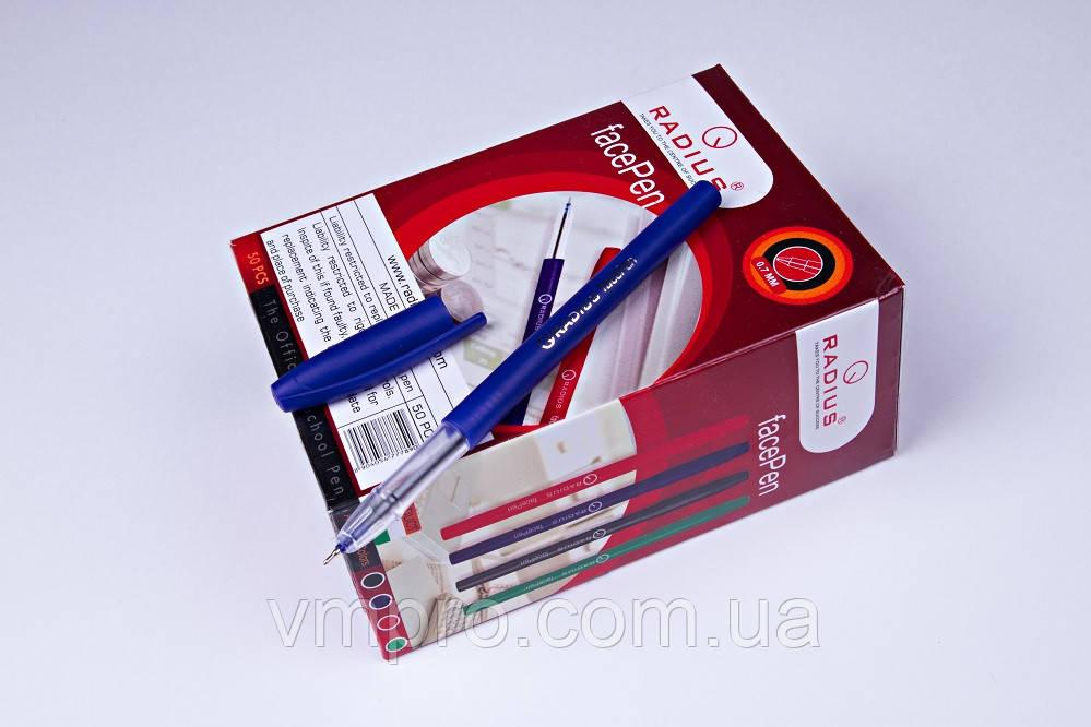 """Ручки кулькові Radius """"face Pen"""",сині,0.7 mm,50 шт/упаковка"""