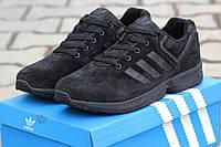Мужские кроссовки Adidas Zx Flux, замша, черные / кроссовки мужские Адидас зх флакс, демисезонные, модные