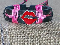 Кожаный браслет ГУБКИ с эмалью для девушки на руку, ручная работа