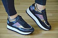 Кроссовки на толстой подошве платформе женские темно синий перламутр 2017