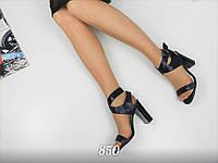 Женские босоножки на каблуке 10 см, натуральная кожа + сатин/  женские босоножки цвета кобальт, стильные