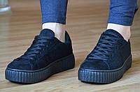 Мокасины, кеды, кроссовки на платформе в стиле Puma черные