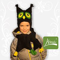 """Комплект флисовый """"Сова-модница"""" на девочку (шапка+шарфик) ТМ Комфорт"""
