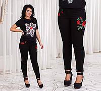 Стильные женские джинсы с вышивкой в больших размерах 4602