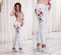 Женские стильные джинсы с вышивкой 4601