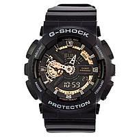 Мужские (женские) спортивные наручные часы Casio G-Shock ga-110 черный+золотой - AAA копия, с автоподсветкой, фото 1