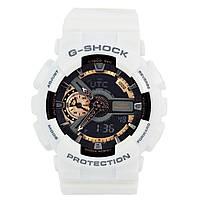 Мужские (женские) спортивные наручные часы Casio G-Shock ga-110 белый+золотой - AAA копия, с автоподсветкой