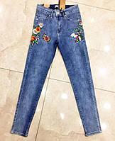 Стильные женские джинсы с вышивкой в больших размерах 4603