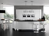 Современная радиусная крашенная кухня без ручек с подсветкой SEVEN фабрика TORCHETTI (Италия), фото 2