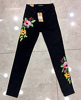 Стильные женские джинсы с вышивкой в больших размерах 4604
