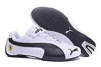 Кроссовки мужские puma ferarri low black white leather. кожаные кроссовки пума, кроссовки пума, фото 1