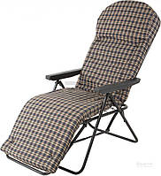 Шезлонг кресло мягкое раскладное с подлокотниками