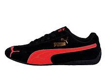 Кросівки чоловічі Puma Speed Cat SD Ferrari Black Red. замшеві кросівки пума, червоні пума